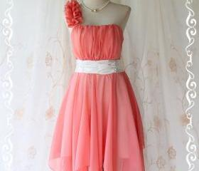 Juliet's Party - Peachy Cocktail Dress One Shoulder Strap Pleated Top Asymmetric Sharp Hem Prom Party Wedding Bridesmaid M-L