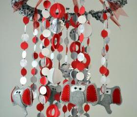 Modern Dancing Elephants Mobile (Red/White/Gray)