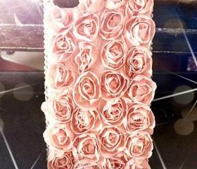 New Bling Crystal Sparkle Rhinestones Pink Lace Roses iPhone 4s Case
