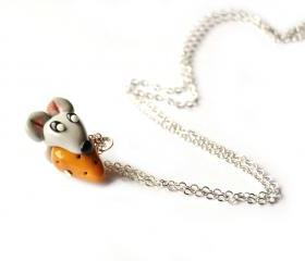 Mouse and cheese necklace in polymer clay