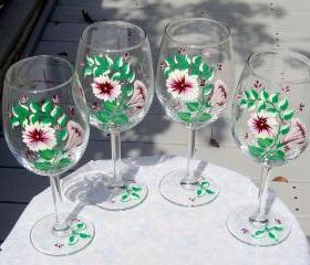 Painted Wine Glass/ Wedding Shower/ Bridesmaids Gift