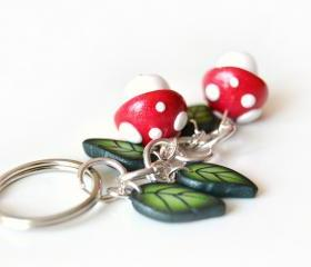 Mushrooms and leaves keyring in polymer clay