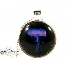 Purple jellyfish glass pendant necklace-Deep ocean series