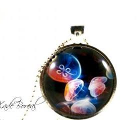 Colorful jellyfish glass pendant necklace-Deep ocean series
