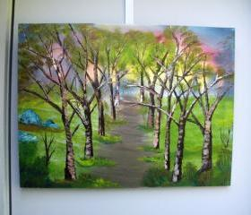 Original art painting, 'Tree Lined Path', oil on canvas by Matt Borst, ready to ship.