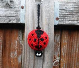 Crochet Plush Ladybug Keychain, ready to ship.
