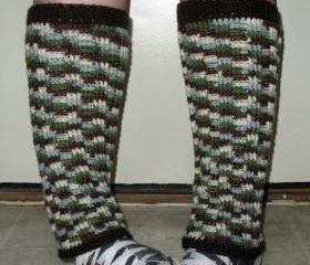 Long crochet Leg Warmers for women or juniors in variegated wool neutrals, ready to ship.