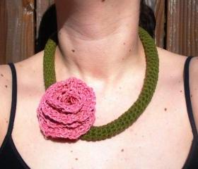 Olive Green Cotton Crochet Necklace with Large Pink Hemp Rose, ready to ship.