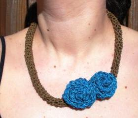 Crochet Necklace with Double Turquoise Roses, ready to ship.