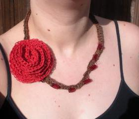 Hemp Crochet Necklace with Red Rose and Beading detail, ready to ship