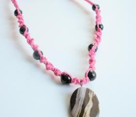 Pink Hemp Macrame necklace with Cuppaccino Jasper Pendant