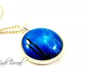 Thunderstorm glass pendant necklace