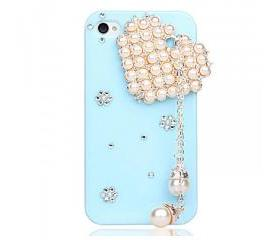 Heart-shaped Pink Pearl iPhone 4/4S Case