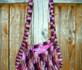 Pink and Brown Crochet purse with flannel floral print lining, ready to ship.