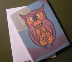 Night Owl blank card featuring print of original acrylic painting