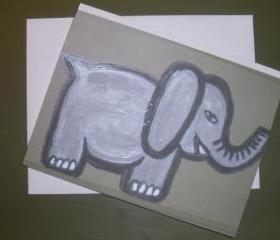 Elephant on parade, blank card with original artwork print