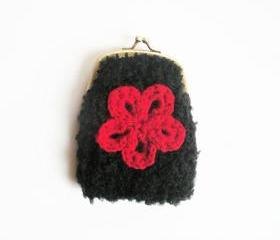 Black boucle coin purse, pouch with red floral applique and ball clasp closure, ready to ship.