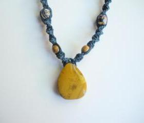 Yellow Jasper on Blue Hemp Necklace, adjustable
