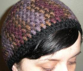 hand crochet beanie in purple, plum, neutral veriegated
