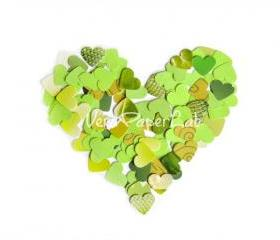100 little hearts punches in green shades