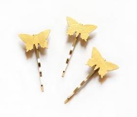 Butterflies bobby pins, set of 3 in gold cardboard