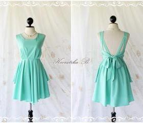 A Party Dress V Shape Style - Cocktail Wedding Bridesmaid Dinner Party Night Dress Bright Mint Green Deep back Style Gorgeous Dress