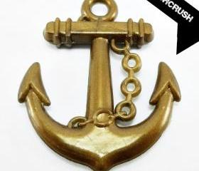  15pcs Brass Acrylic Anchor charms Pendant X13