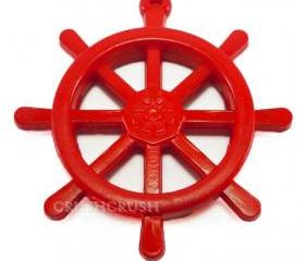 6pcs 39mm RED Anchors Helms Nautical Acrylic CHARM X08