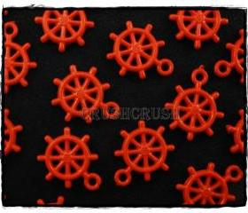  100pcs Red Anchors Helm Wheel Nautical Acrylic Charms Pemdants X56