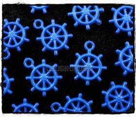  100pcs Blue Navy Anchors Helm Wheel Nautical Acrylic Charms Pemdants X55
