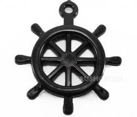 15pcs 25mm Black Anchors Helms Nautical Acrylic CHARMS X11