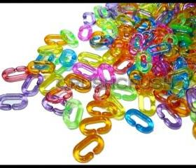 100pcs Transparent Colouful LINK CHAIN Toy X92