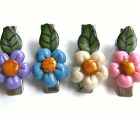 4 little colorful spring flowers hair clips in polymer clay