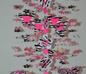 Pink and Zebra Mobile (butterfly and flowers) Nursery Decor, Baby shower gift