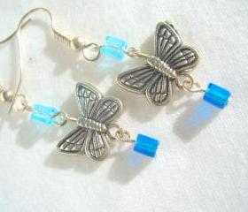 Blue Butterfly Earrings Silver Ocean Sky Cube Chandelier Dangle
