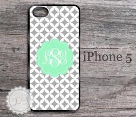 iPhone 5 case diamond mint and gray monogrammed hard cover