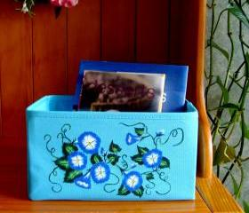 Blue Multi Use Storage Tote Basket With Cobalt Flowers