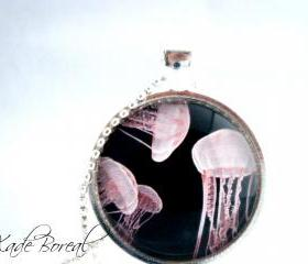 Pink Jellyfish glass pendant necklace-Deep ocean series
