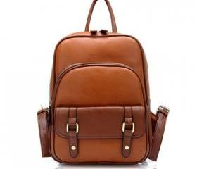 Vintage Street Style Brown Backpack for Woman