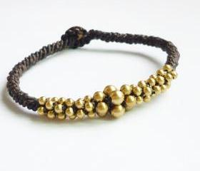Cluster of Gold Bracelet - Mix of Brass Beads woven with Black Wax Cord Bracelet/Bangle - Gift under 15