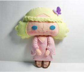 Christy girl - doll pattern, felt doll, PDF