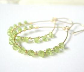Peridot teardrop hoop earrings