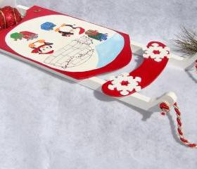 Holiday Ornament Red Sled with Penguins Christmas Decoration