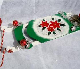 Holiday Ornament Green Sled with Poinsettias Christmas Decoration