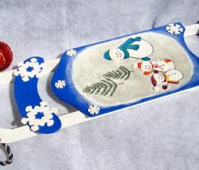 Holiday Ornament Blue Sled with Snowmen Christmas Decoration