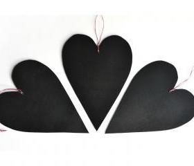 Set of 3 black hearts chalkboards made of cardboard and blackboard paint - Valentine's Day or wedding ornaments