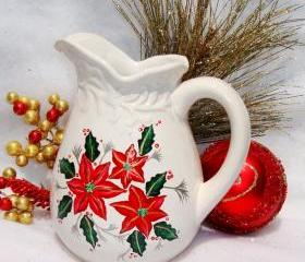 Christmas Ornament Ceramic Pitcher With Poinsettias