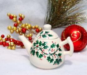 Christmas Ornament Teapot With Holly
