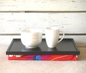 Laptop Lap Desk or Breakfast serving Tray - Black with Red, Blue, Mint, Purple and Ivory flower print, Jersey Pillow