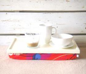 Laptop Lap Desk or Breakfast serving Tray - Off White with Red, Blue, Mint, Purple and Ivory flower print, Jersey Pillow